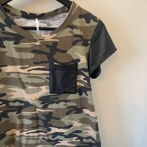 2/$18 Camo + Faux Leather / Short Sleeve / Tee